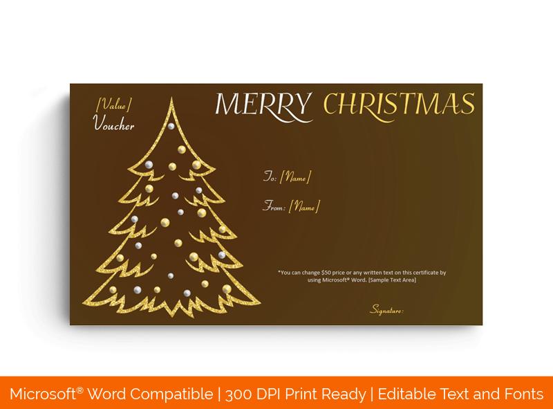 Christmas Golden Tree Gift Voucher Template BRW 8987