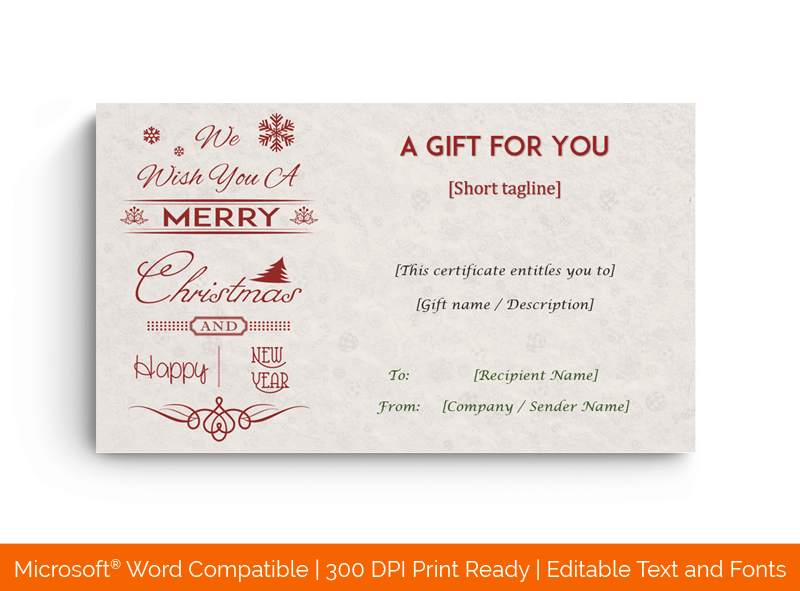 Christmas Holiday Gift Card Template for Word 1748
