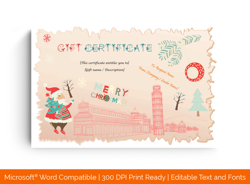 Christmas Holiday Travelling Gift Certificate Template
