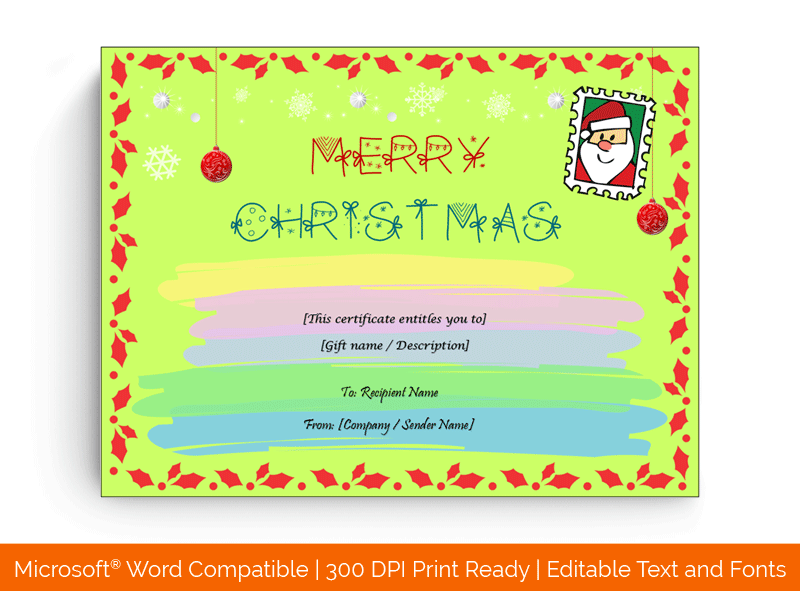 Christmas Letter Gift Certificate Template in Word 5889