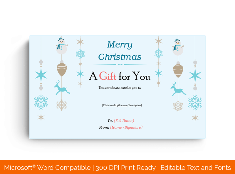 Christmas Ornaments Gift Certificate Template in MS Word 45
