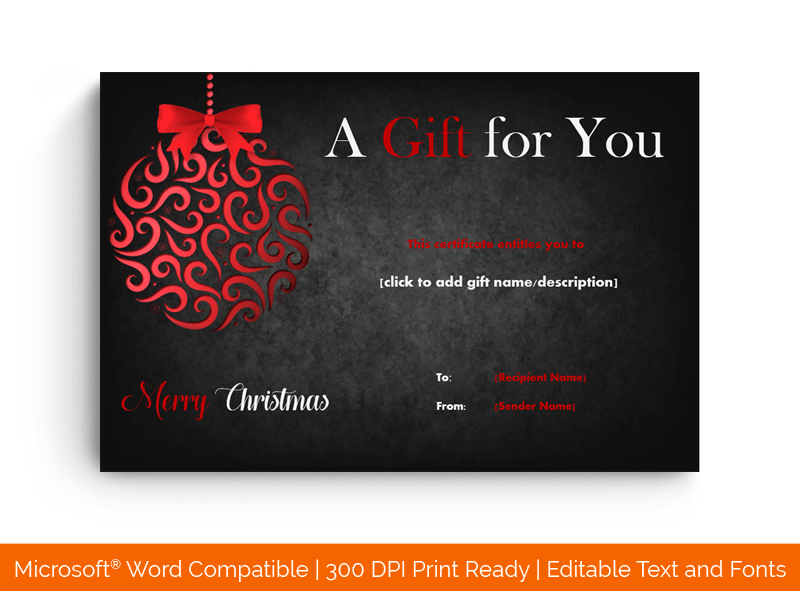 Christmas Party Gift Certificate Template Black and Red 4545