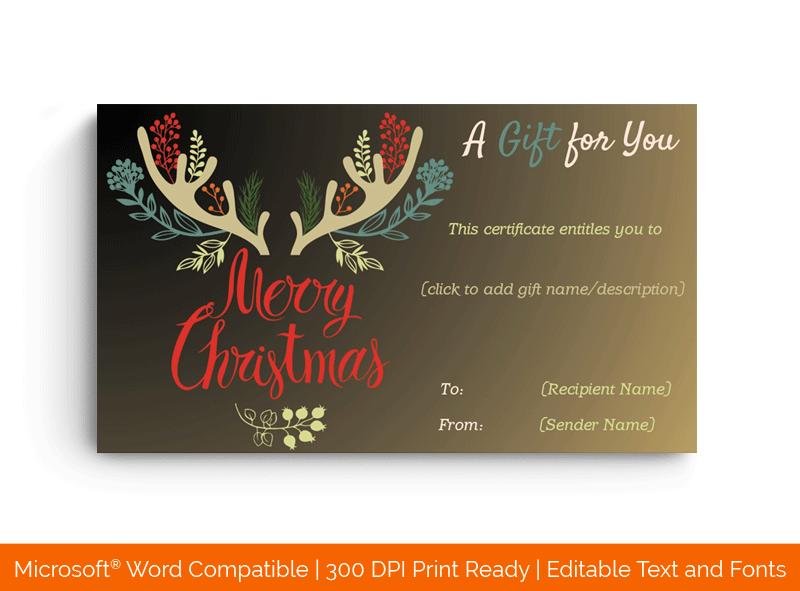 Christmas Reindeer Gift Certificate in Word 156