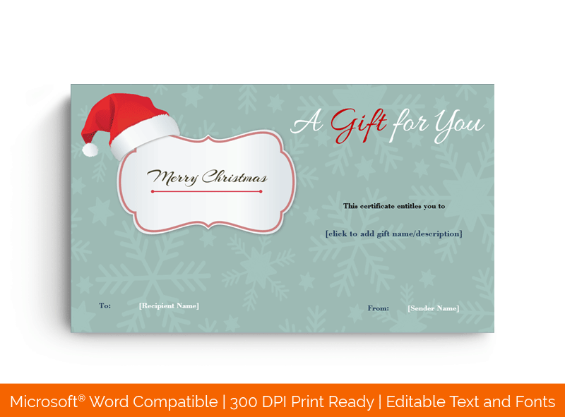 Christmas Santa Cap Gift Template in Word Blue 3832