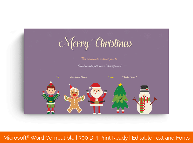 Christmas Santa and snowman Gift Certificate Template 852