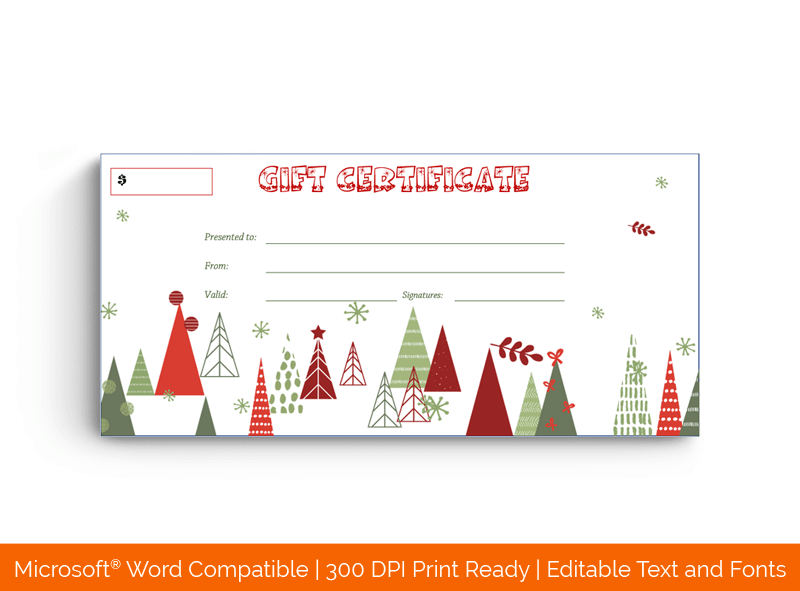 Christmas Snow Flakes Certificate Template Red Gree White
