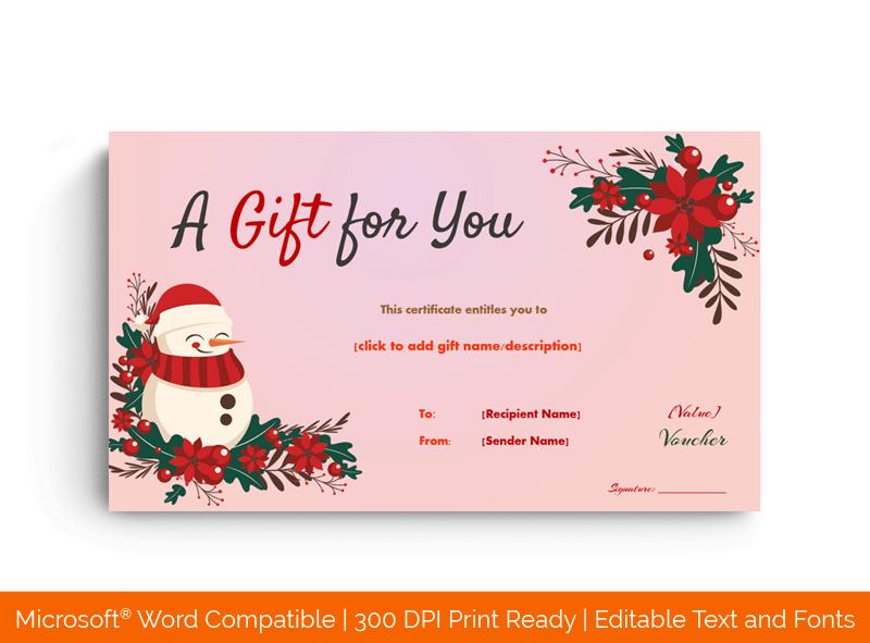 Christmas Snowman Gift Voucher Template Pink BG 7854