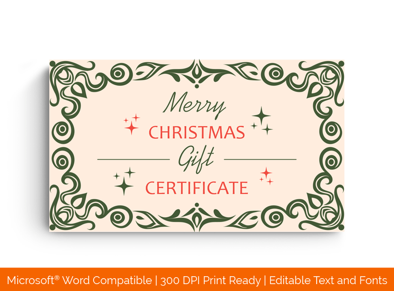 Christmas Stars Gift Certificate Front 5898
