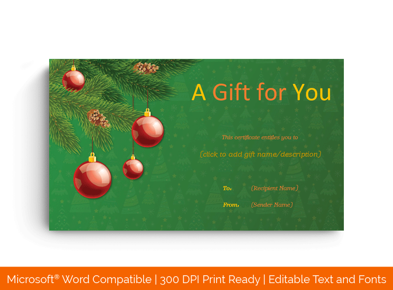 Christmas Tree Gift Certificate Template Dark Green 1414