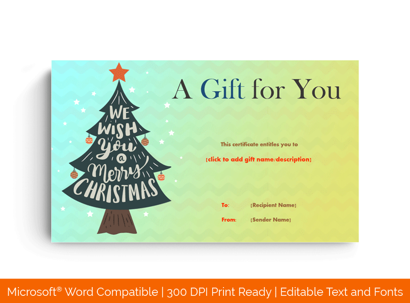 Christmas Tree Gift Certificate With Ornaments Template Greenish