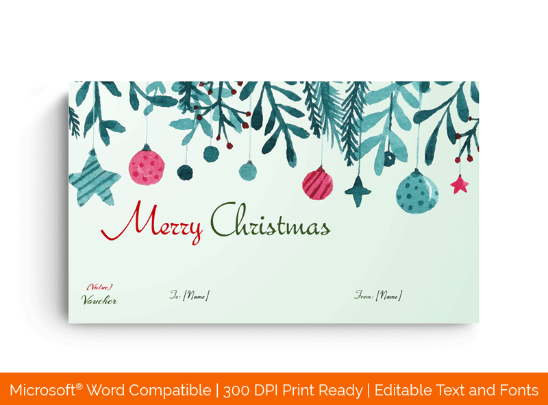 Christmas Tree with Tinsels Gift Certificate Template 87587