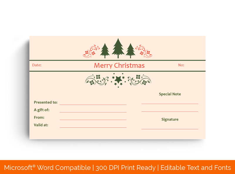 Christmas Trees Gift Certificate Template in Word 5898