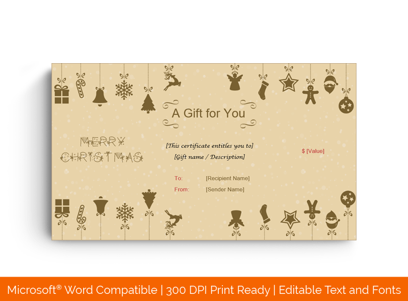 Christmas Value Gift Voucher Template 3334