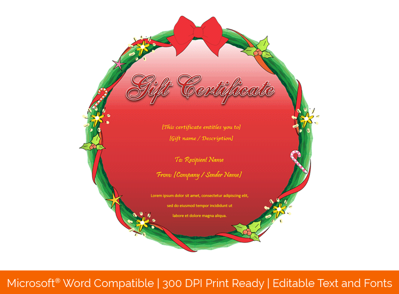 Christmas Wreath Design Gift Certificate Template 598