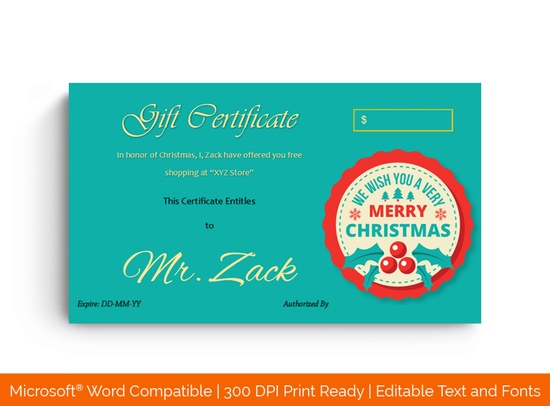 Christmas gift Certificate Template Cherry 1829
