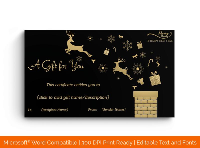 Christmastime Gift Certificate Template Reindeer 8898