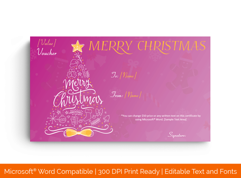Colourful Christmas Tree Gift Certificate Template Pinkish 32