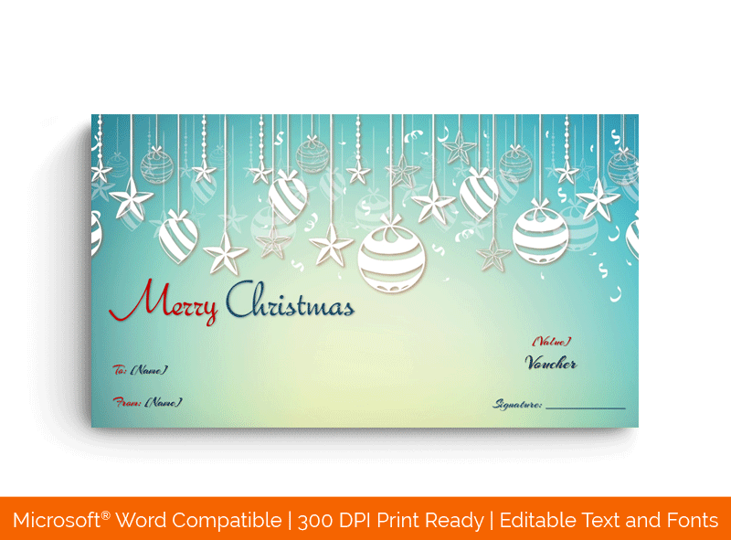 Crystal Snow Hanging Balls Christmas Gift Certificate Template Bluish