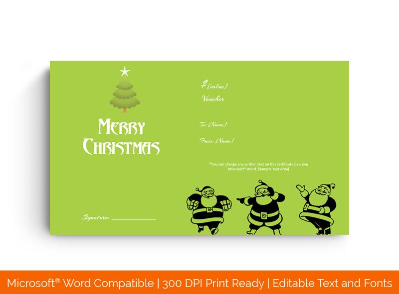 Dancing Santa Gift Certificate Template in Word Green 889