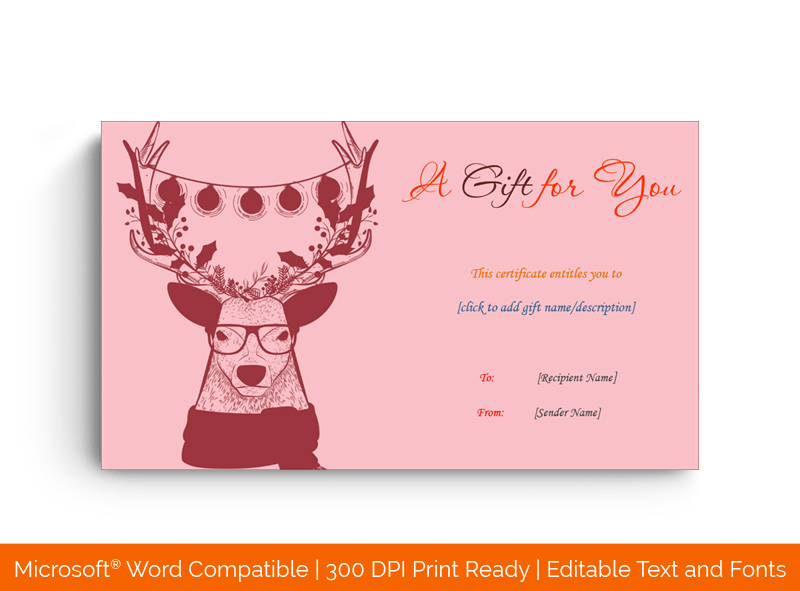 Decorated Reindeer Christmas Gift Certificate Template Pink 33