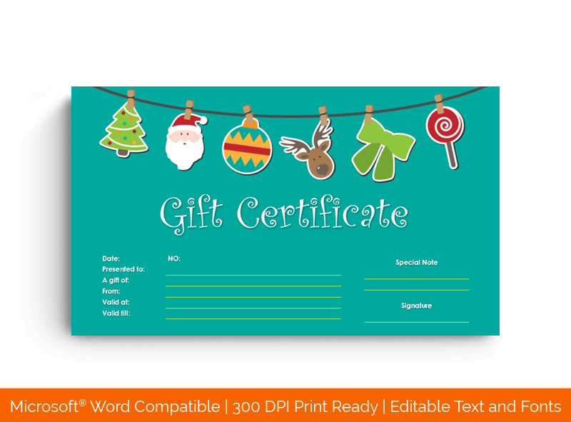 Decorative Ornaments Christmas Gift Certificate Template 7895