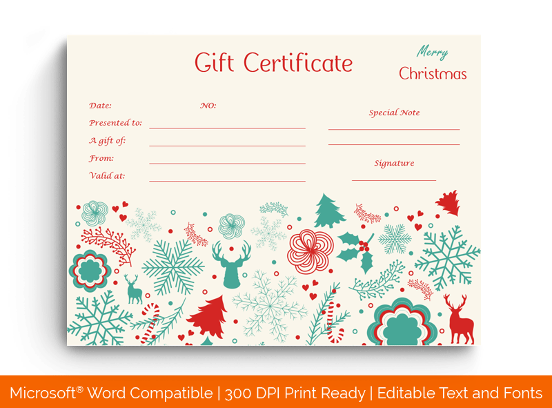 Delicate Christmas Gift Certificate Template 99