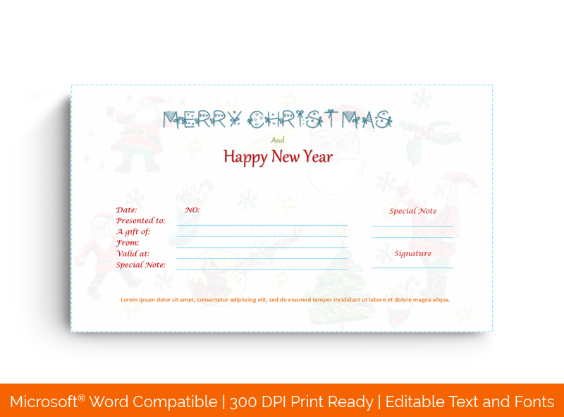 Double Eve Christmas Gift Certificate Template in Word 3356