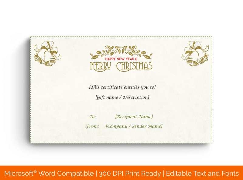 Editable Christmas Gift Certificate Light Floral 1849