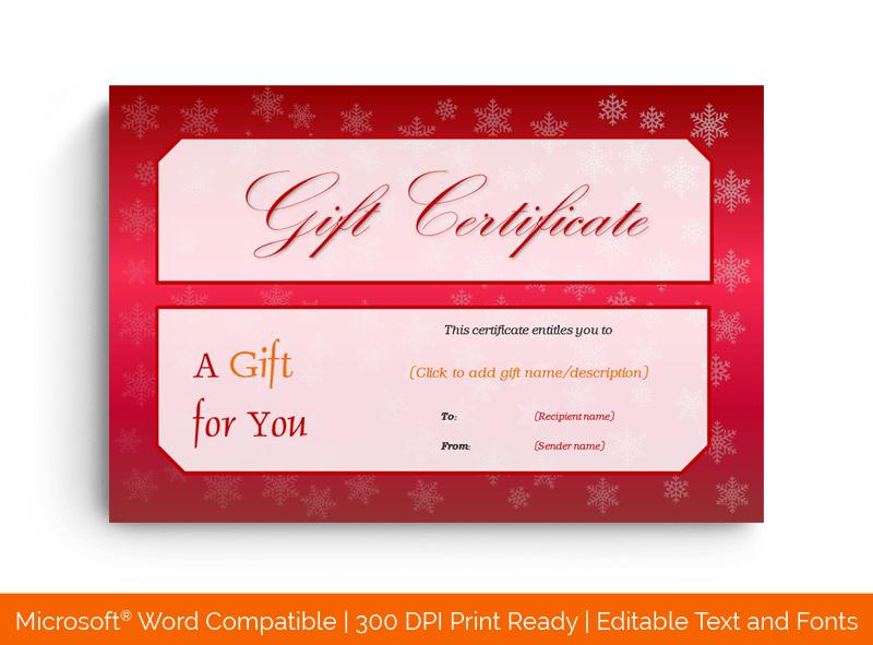 Editable Christmas Snow Flakes Gift Certificate 55799