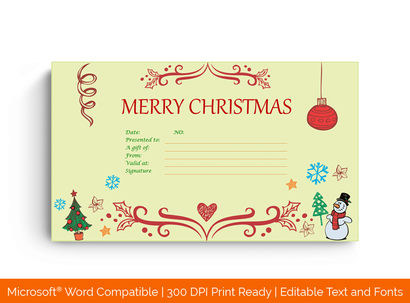Eve Decorative Christmas Gift Certificate Template in MS Word 8747