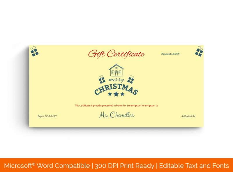 Family Christmas Gift Certificate Template Yellow Green