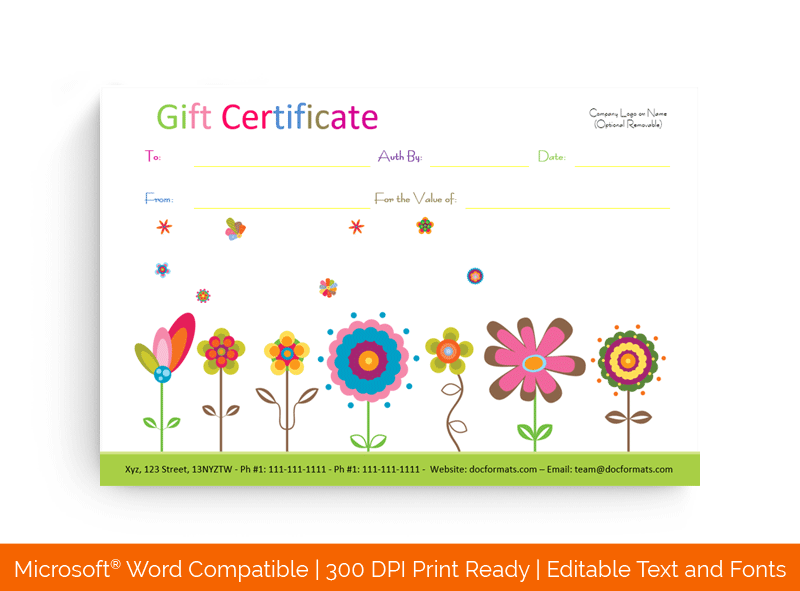 Flowers Gift Certificate Template 1843898