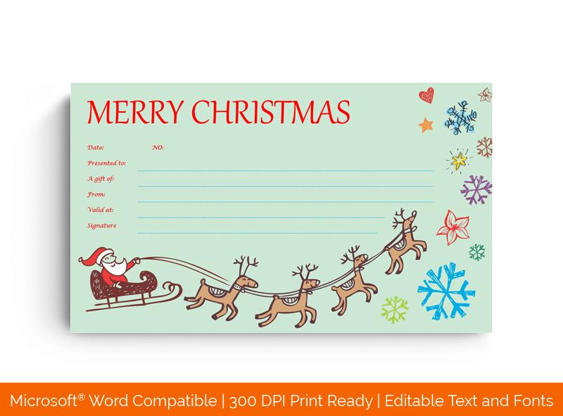 Flying Santa and Reindeer Christmas Gift Certificate 44