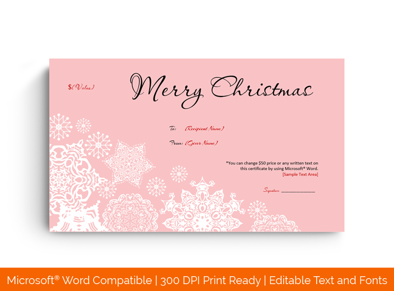 Frosty Pink Christmas Gift Certificate Template in Word 784