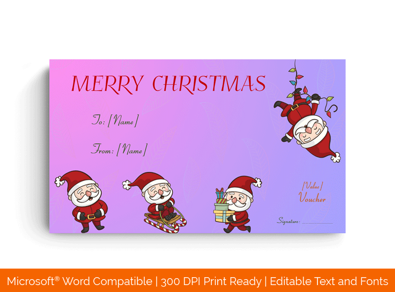 Fun Santa Christmas Voucher Template in Word 3456