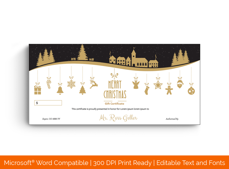 Golden Black Street Christmas Gift Certificate Template
