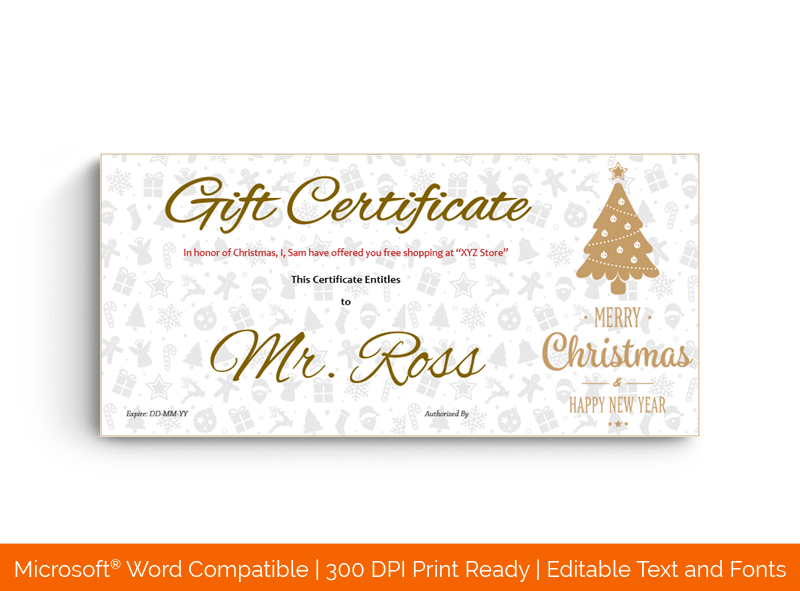 Golden Christmas Tree Gift Certificate Template BRW 32