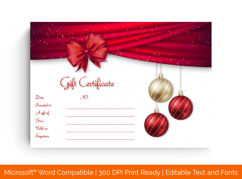 Hanging Baubles Christmas Gift Certificate Template 11