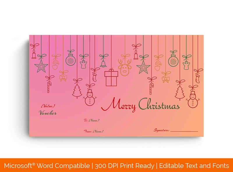 Hanging Tinsels Christmas Certificate in Word Pink 9696