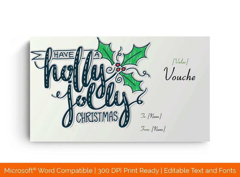 Holly Jolly Christmas Gift Voucher Certificate Template