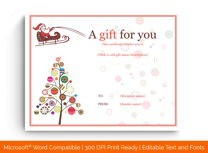 Holly Jolly Simple Christmas Gift Certificate Template