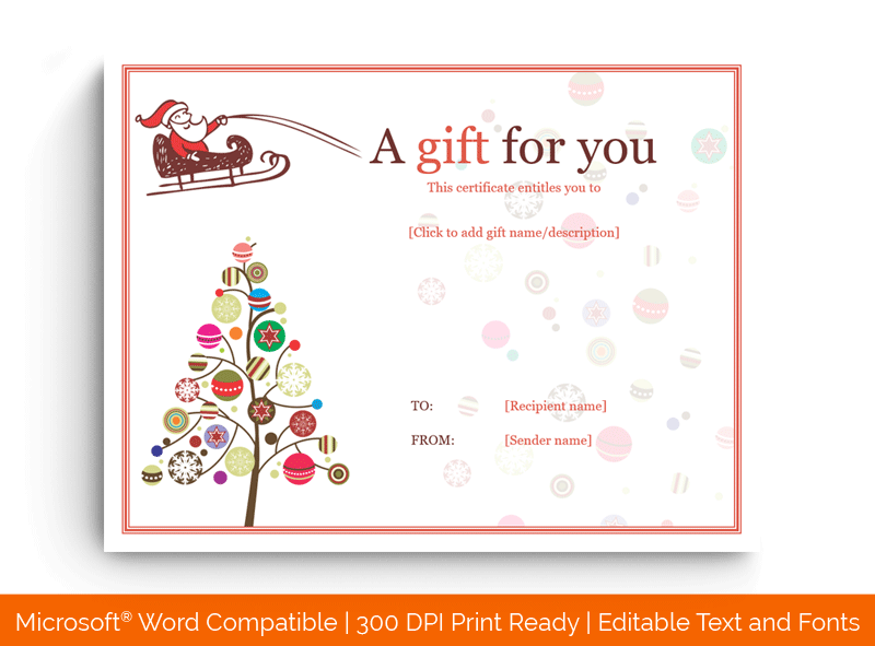 Icicle Lights Christmas Gift Certificate Template