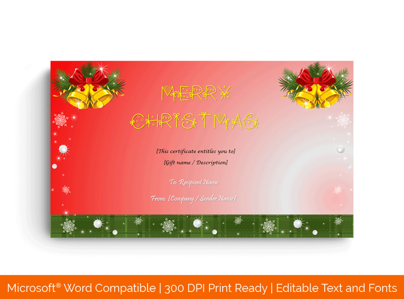 Jingle Bells Christmas Gift Certificate Template Red 3396