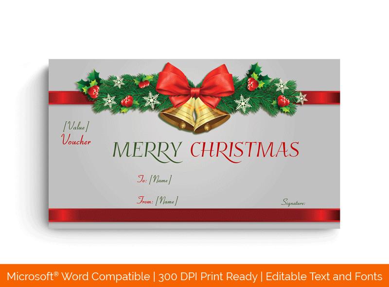 Jingle Bells Christmas Gift Certificate in MS Word Dark 8899