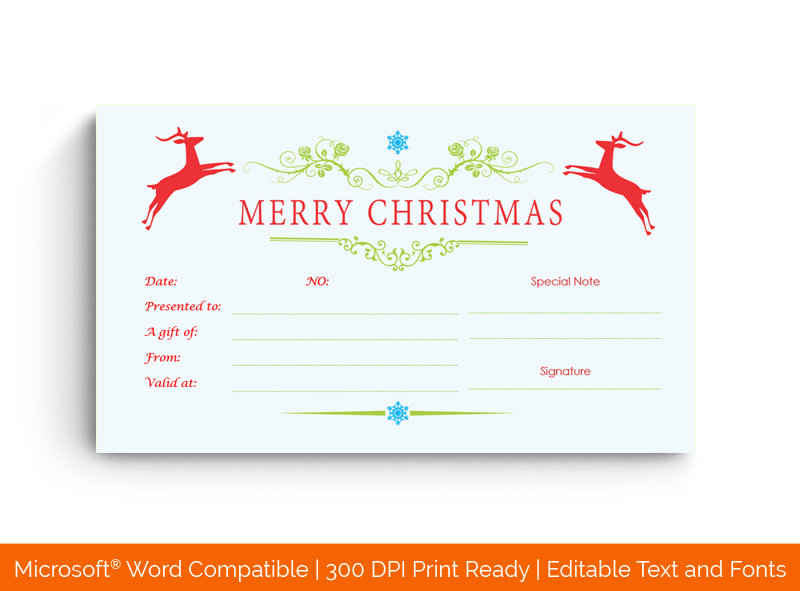 Jumping Reindeers Christmas Gift Certificate Template 989