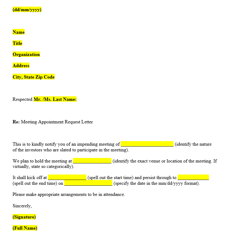 Meeting Request Letter (Word Template)