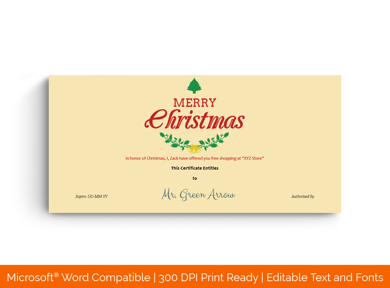 Merry Christmas Gift Certificate Template Red Yellow 66