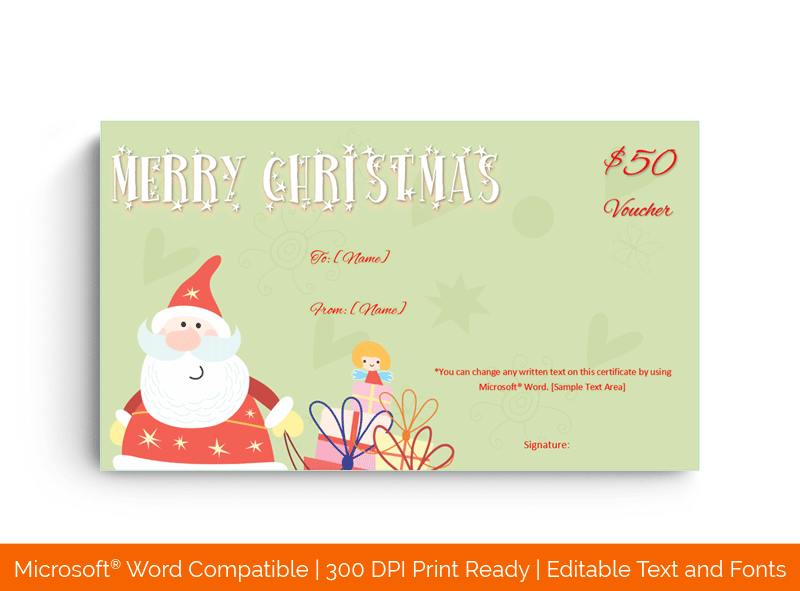 Merry Christmas Gift Voucher Template 6598