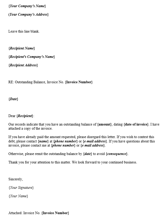 Sample Payment Request Letter For Outstanding Balance Template
