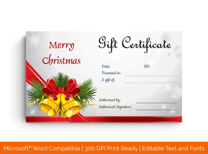 Printable Christmas Bells Gift Certificate Template Red bells 33